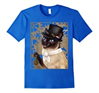 Steampunk Cat - Siamese With A Top Hat, Goggles, And Gears T-shirt Royal Blue