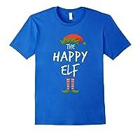 Happy Elf Matching Family Christmas Group Party Pajama Shirts Royal Blue