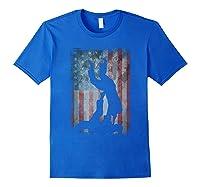 Vintage Flag American Brazilian Jiu-jitsu Lovers Gift Family T-shirt Royal Blue