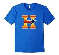 Houston Baseball H Vintage H Town Crush City Texas Gift Shirts Royal Blue
