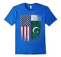 Pakistan Usa Pakistani American Flag Pride Shirts Royal Blue