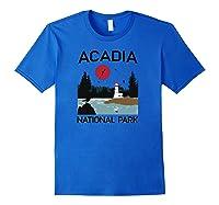 Vintage Acadia National Park Retro 80s Maine Mount Island Shirts Royal Blue