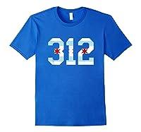 312 Chicago Flag Area Code City Pride T Shirt Royal Blue
