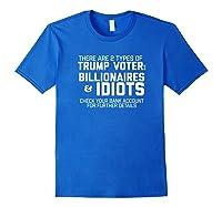 Trump Voters Are Billionaires Or Idiots Impeach T Shirt Royal Blue
