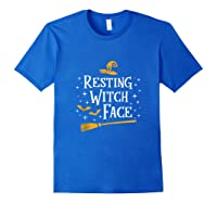 Resting Witch Face Shirt Broomstick Funny Spooky Party Tank Top Royal Blue
