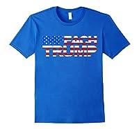 Vintage Impeach Trump American Flag Anti Trump T Shirt Royal Blue