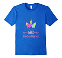 1st Day Of Kindergarten Unicorn Hello Kindergarten Girls Shirts Royal Blue