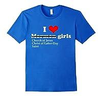 I Love Mormon Oops Latter Day Saint Girls T Shirt Royal Blue