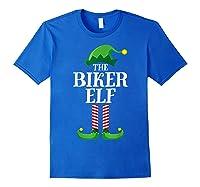 Biker Elf Matching Family Group Christmas Party Pajama T-shirt Royal Blue
