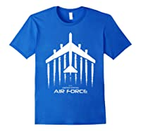 Air Force B 52 Bomber American Flag Veteran Shirts Royal Blue