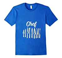 Chef Cooking Vintage Knives Funny Culinary Chefs Gifts T Shirt Royal Blue