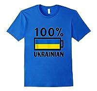 Ukraine Flag Design 100 Ukrainian Battery Power Tee Tank Top Shirts Royal Blue