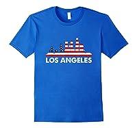La City American Flag Shirt 4th Of July Shirts Skyline Royal Blue
