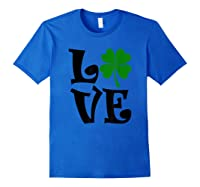 Saint Patrick S Day Love Lettering T Shirt Royal Blue