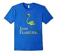 Funky Irish Flamingo Apparel Green Bird St Pattys Day Tshirt Royal Blue