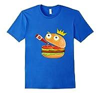 King Hamburger Drinking Tomato Sauce Funny Cartoon Tshirt Royal Blue