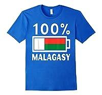 Madagascar Flag T Shirt 100 Malagasy Battery Power Tee Royal Blue