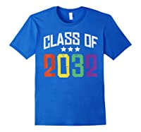 Class Of 2032 Color Stars Grow With Me Kindergarten Gift Shirts Royal Blue