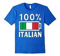 Italy Flag T Shirt 100 Italian Battery Power Tee Royal Blue