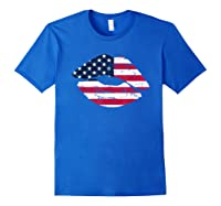 Cool Lips With American Flag Girl 4th Of July Gift Shirts Royal Blue