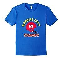 Retro Kansas City Football Helmet Vintage Kc 69 Champs Shirts Royal Blue
