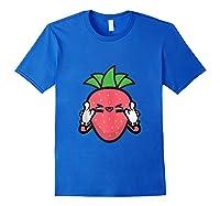 Strawberry Rock Roll Rocker Gift Sign Of Horns Shirts Royal Blue