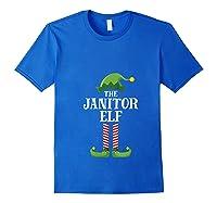 Janitor Elf Matching Family Group Christmas Party Pajama T-shirt Royal Blue