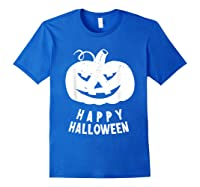 Funny Happy Halloween Costumes Scary Spooky Pumpkin Costume Shirts Royal Blue