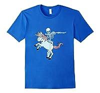 Skeleton Riding Zombie Unicorn Cute Halloween Tank Top Shirts Royal Blue