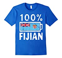 Fiji Flag T Shirt 100 Fijian Battery Power Tee Royal Blue