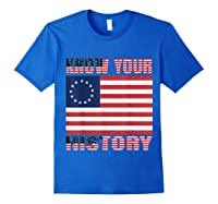 Betsy Ross Flag 1776 Vintage American Know Your History T Shirt Royal Blue