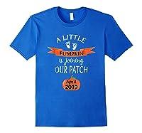 Halloween Pregnancy Announcet Tshirt Pumpkin April 2019 Royal Blue