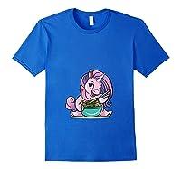 Kawaii Baby Unicorn Eating Ra Noodles Food Gift T-shirt Royal Blue