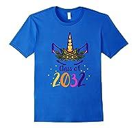 Unicorn Face Class Of 2032 First Day Kindergarten Girls Gift Shirts Royal Blue