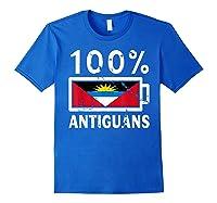 Antigua Barbuda Flag Shirt 100 Antiguans Battery Power Royal Blue