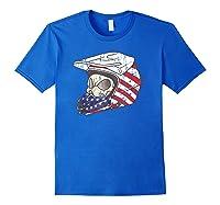 Usa Flag American Skull Helmet Patriotic Motorcyclist T Shirt Royal Blue