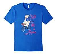Floral Breast Cancer Awareness Month Figth Premium T Shirt Royal Blue
