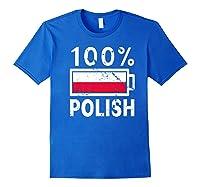 Poland Flag T Shirt 100 Polish Battery Power Tee Royal Blue