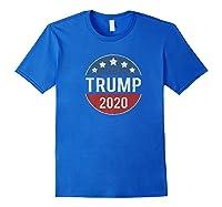 Donald Trump 2020 Retro Button Vintage Patriotic July 4th Shirts Royal Blue