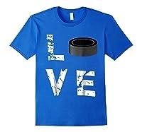 Love Hockey Puck Funny Sports Valentine S Day T Shirt Royal Blue