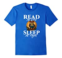 Sleep All Day Read All Night Bookish Read A Book Day Owl Premium T Shirt Royal Blue