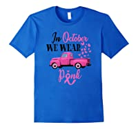 October Breast Cancer Awareness Month Pumpkin Vintage Truck Premium T Shirt Royal Blue