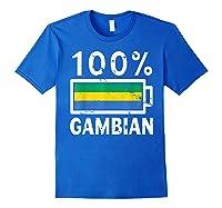 Gambia Flag T Shirt 100 Gambian Battery Power Tee Royal Blue