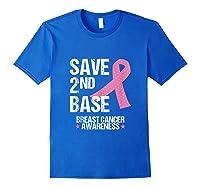 Save 2nd Base Breast Cancer Awareness Month Pink Ribbon Gift Tank Top Shirts Royal Blue