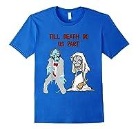 Zombie Bride Groom Hallowedding Halloween Wedding Costume Shirts Royal Blue
