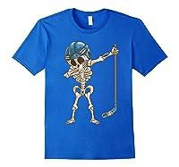 Dabbing Skeleton Hockey Halloween Gift Shirts Royal Blue