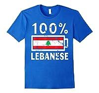 Lebanon Flag T Shirt 100 Lebanese Battery Power Tee Royal Blue