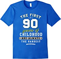 90th Birthday Funny Gift Life Begins At Age 90 Years Old T-shirt Royal Blue