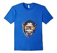 Crazy Monkey Chimp Funny And Vintage Music Love Shirts Royal Blue