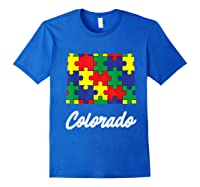 Autism Awareness Day Colorado Puzzle Pieces Gift Shirts Royal Blue